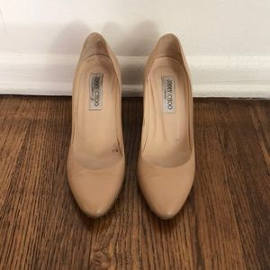 Jimmy Choo 37.5 Nude Wedges